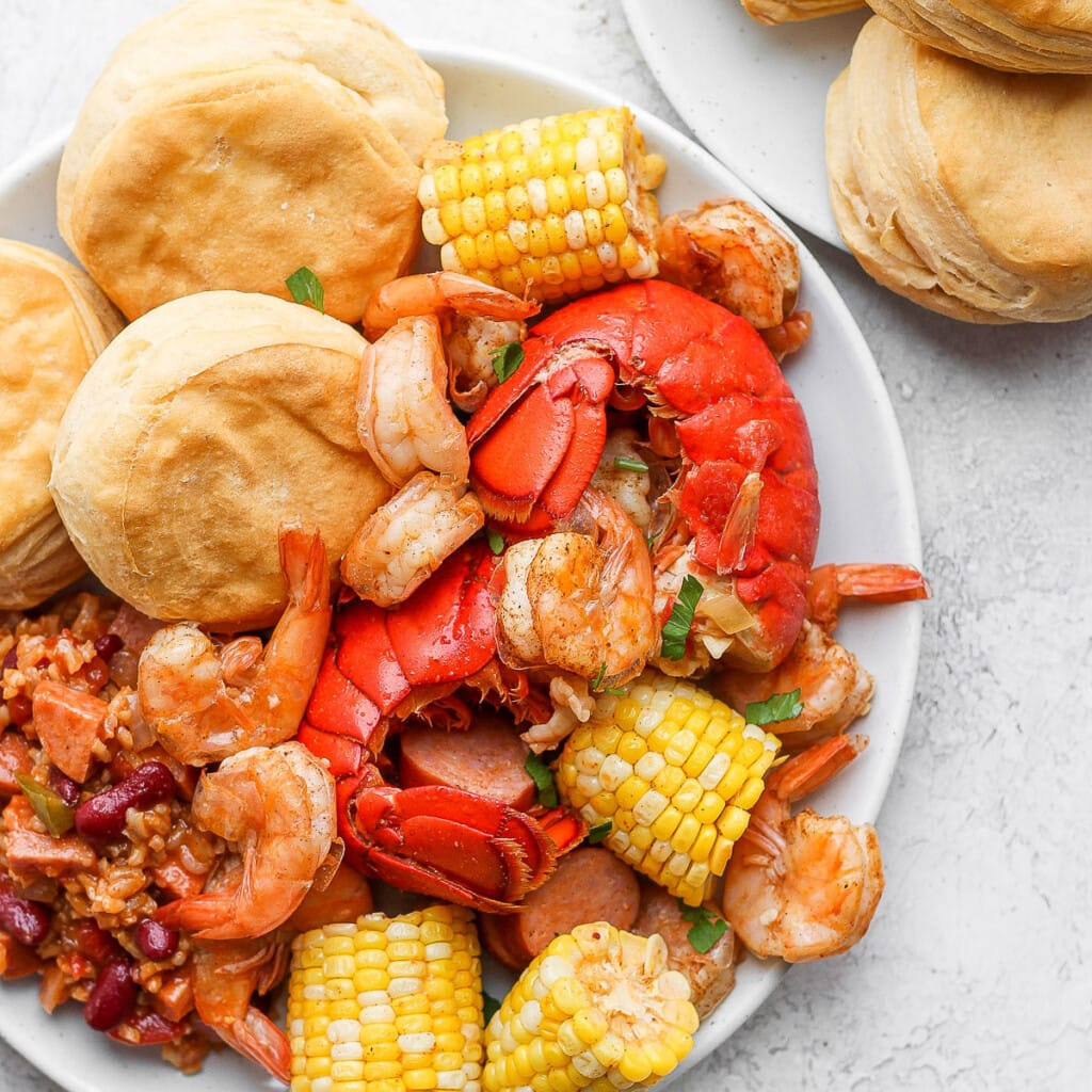easy seafood boil on a plate