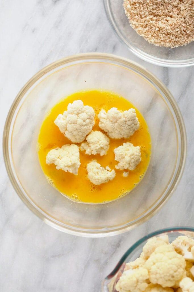 cauliflower in egg wash