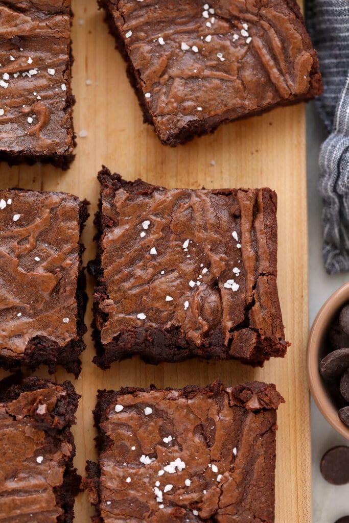 fudgy brownies on cutting board
