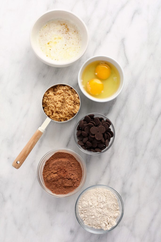 butter, eggs, brown sugar, chocoalte chips, cocoa powder, and flour