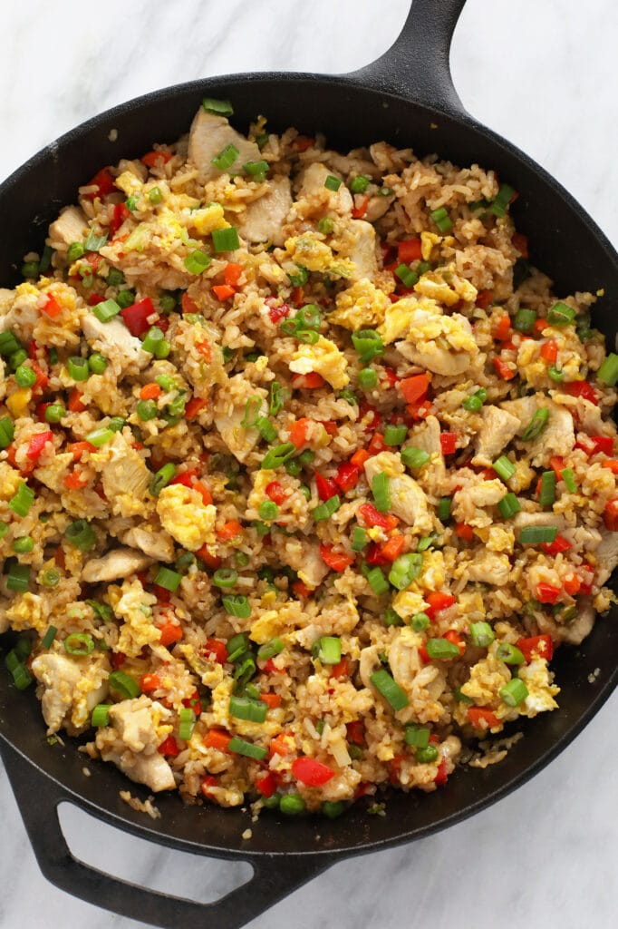 chicken fried rice in cast iron pan