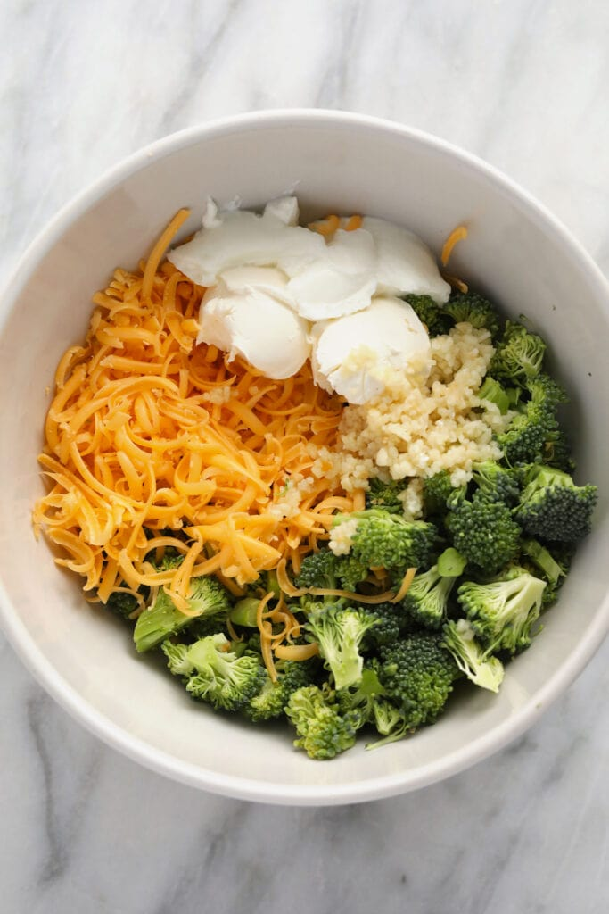 broccoli and cheese filling in a bowl