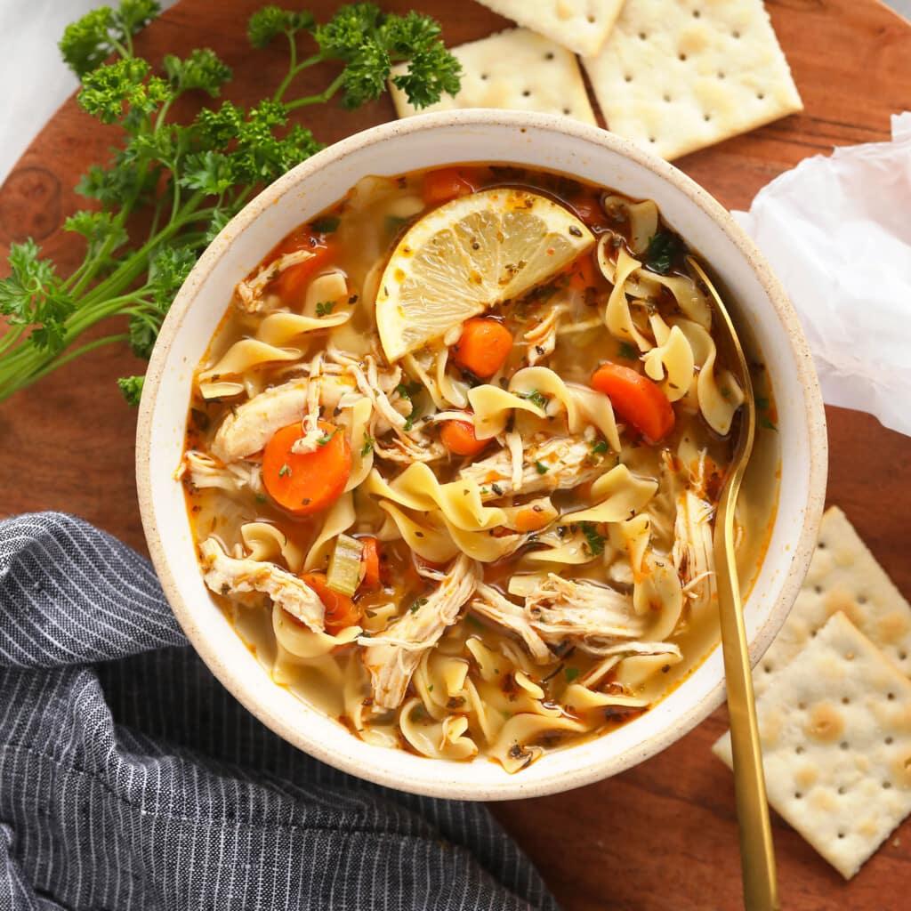 instant pot chicken noodle soup in bowl