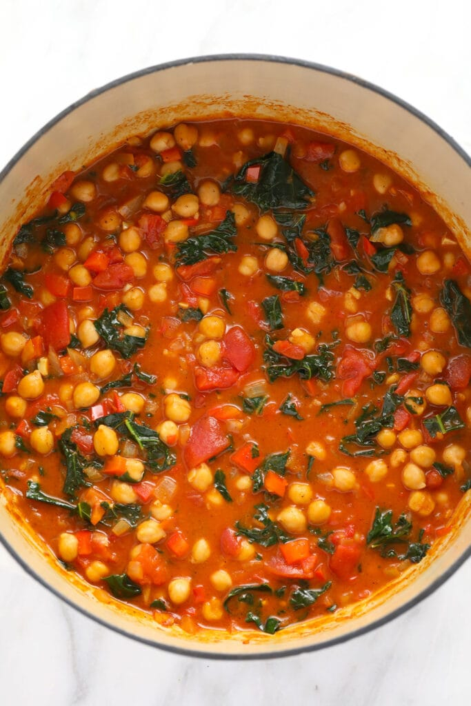 chickpea curry in a dutch oven, ready to be served