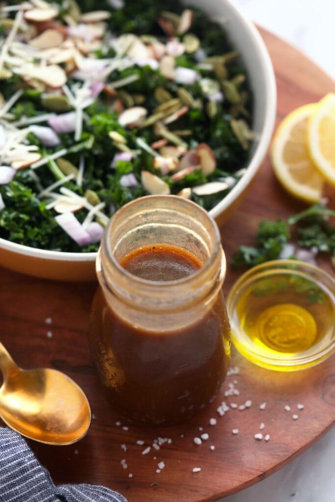 salad dressing next to salad