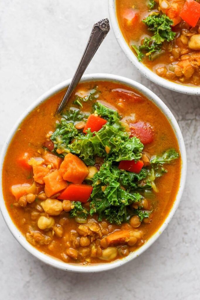Two bowls of lentil soup.