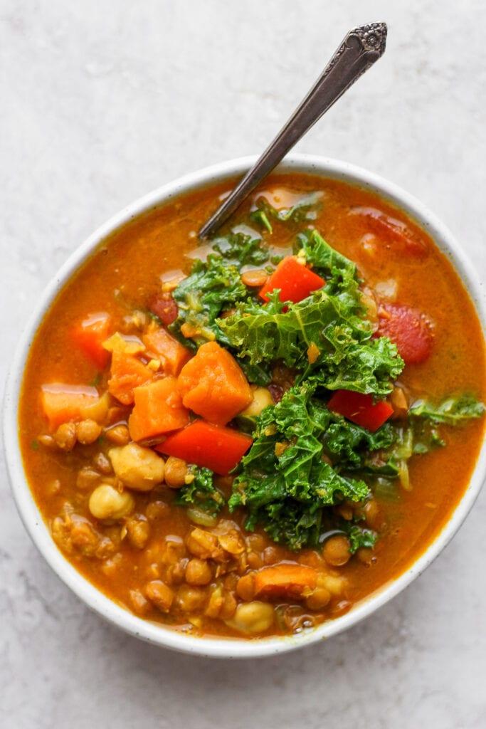 Instant Pot lentil soup in a bowl.