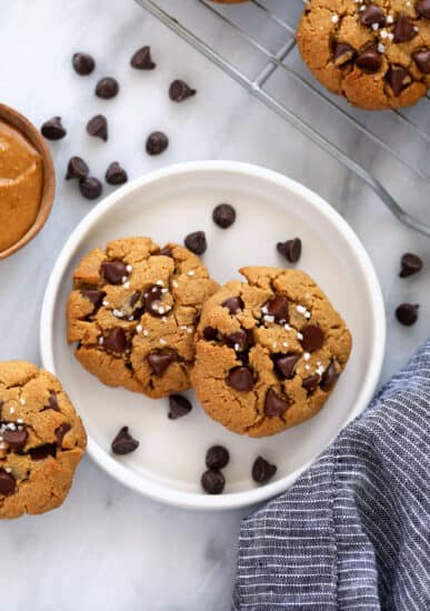healthy peanut butter cookies on a plate