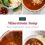 Photos of the process of making minestrone soup