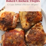 Chicken thighs on a plate.