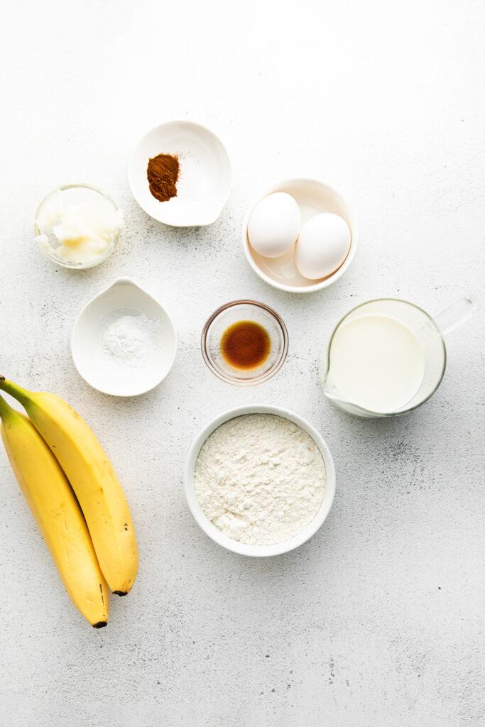 banana pancakes ingredients on counter