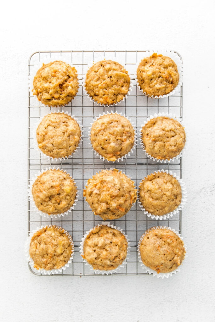 carrot muffins on wire rack