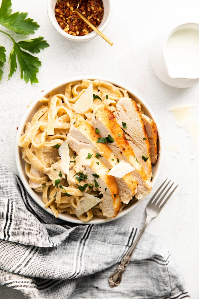 homemade chicken alfredo in bowl