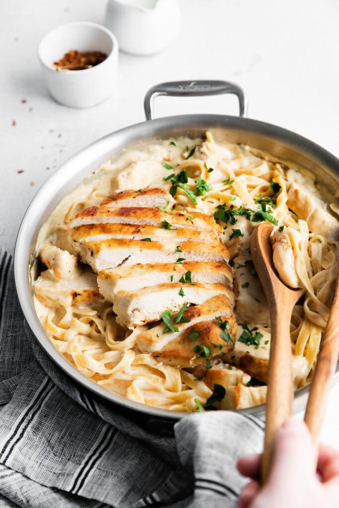 chicken Alfredo in pan