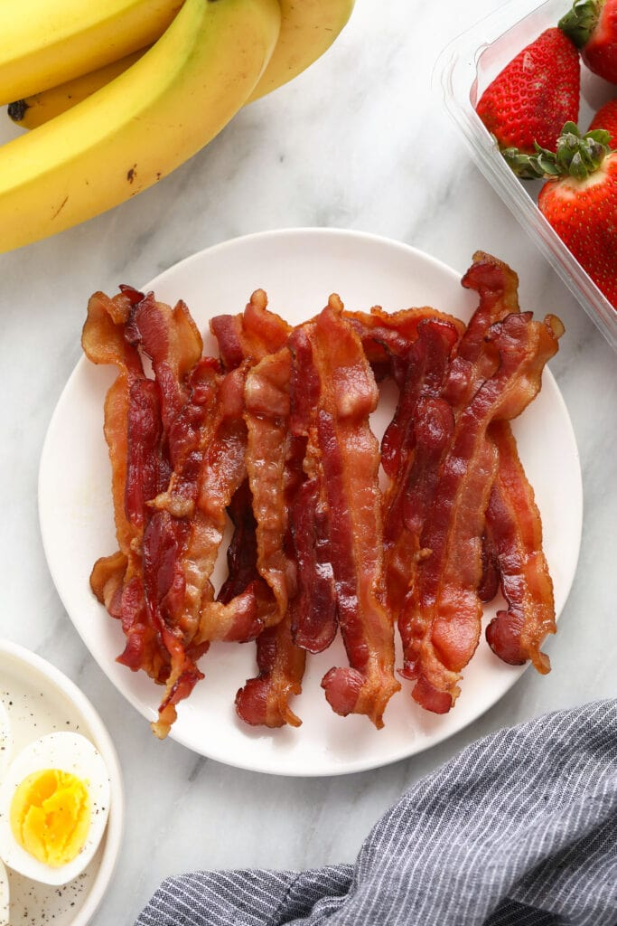 microwave bacon on plate