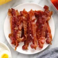 Bacon on a plate.