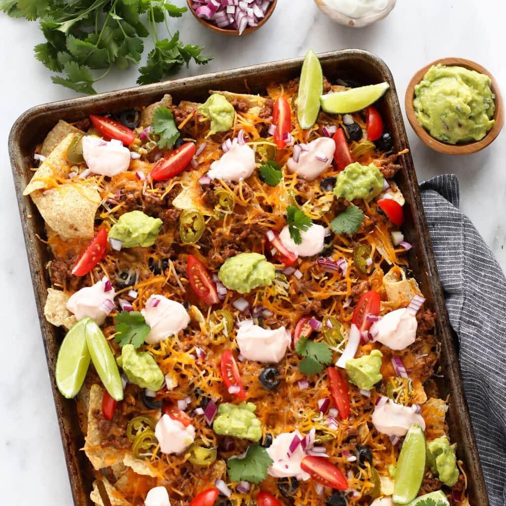 beef nachos in sheet pan