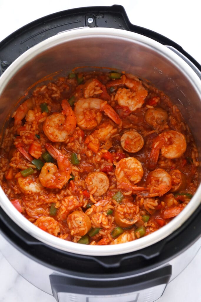 Finished jambalaya in an Instant Pot with shrimp and andouille sausage.