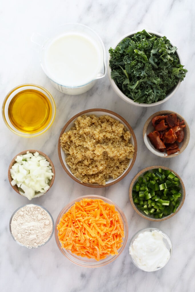 ingredients for jalapeno bacon quinoa mac and cheese, ready to be made in your kitchen