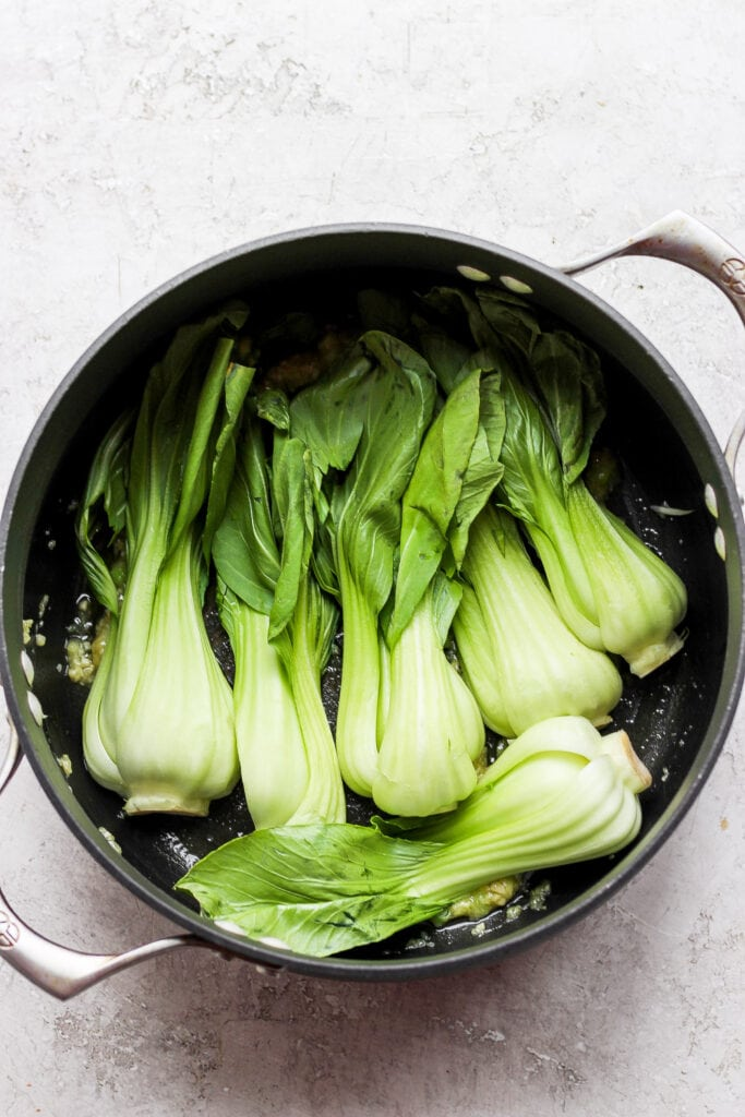 Bok choy in a pot.
