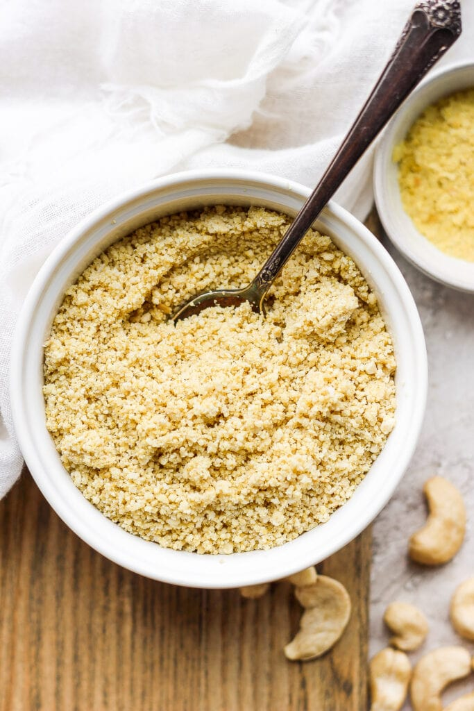 vegan parmesan cheese in a bowl