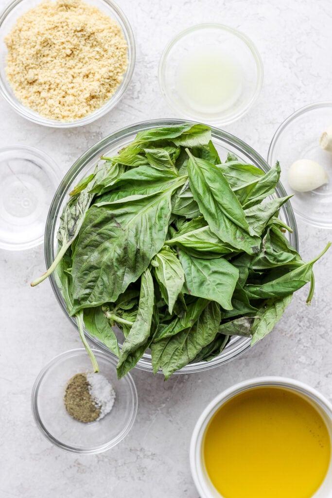 fresh basil, garlic, lemon, parmesan cheese, and olive oil