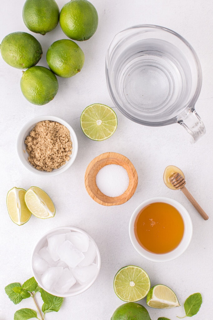 limeade recipe ingredients, ready to be mixed together