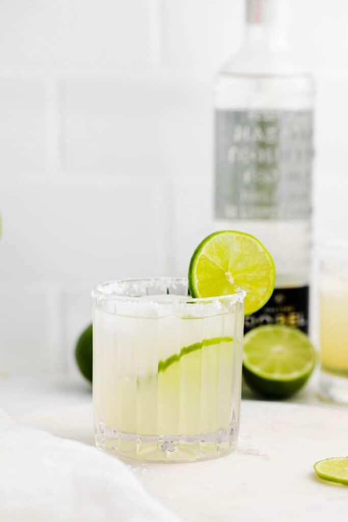 A classic margarita in a glass.