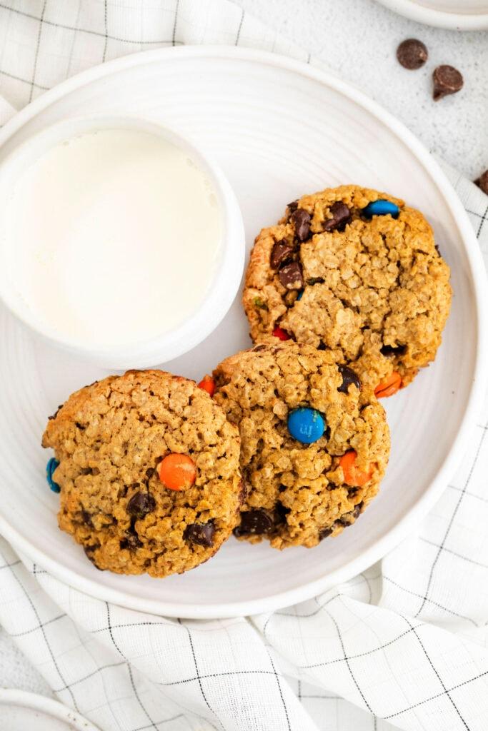 3 monster cookies on plate