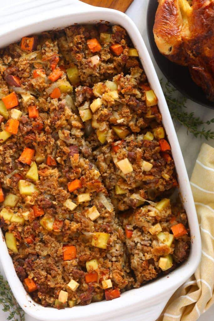 sausage stuffing in casserole dish