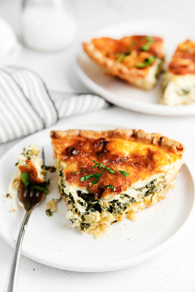 Spinach quiche on a plate!