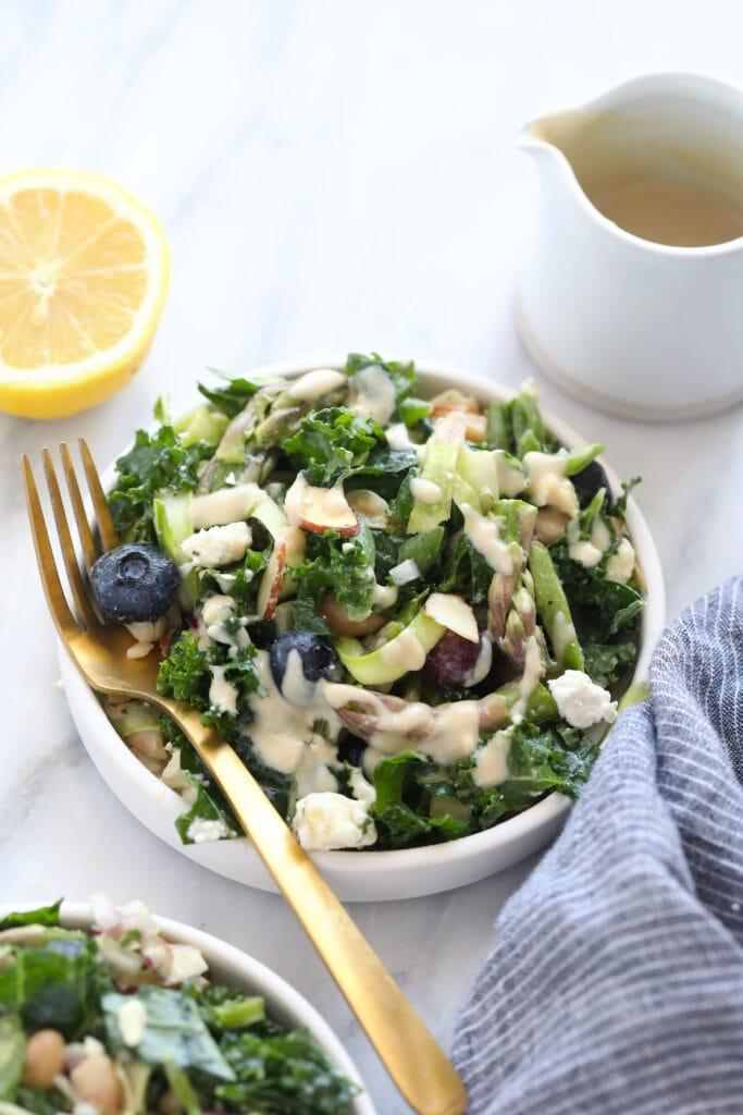 A bowl of asparagus salad.