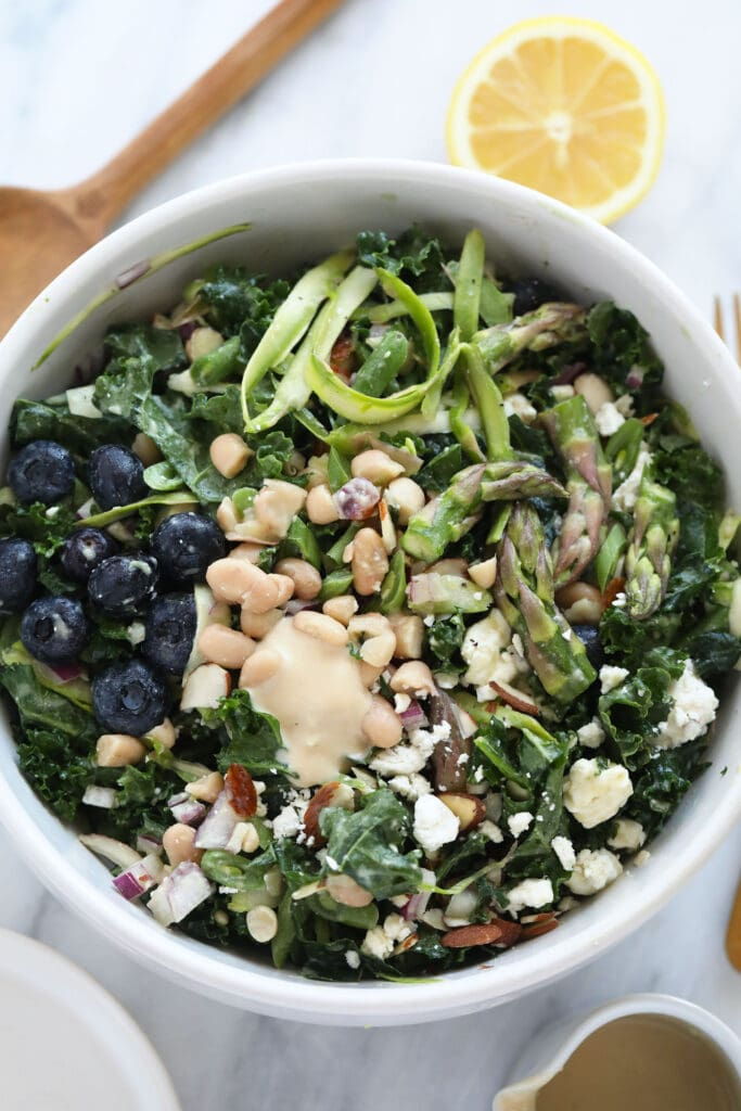 Asparagus salad in a salad bowl.