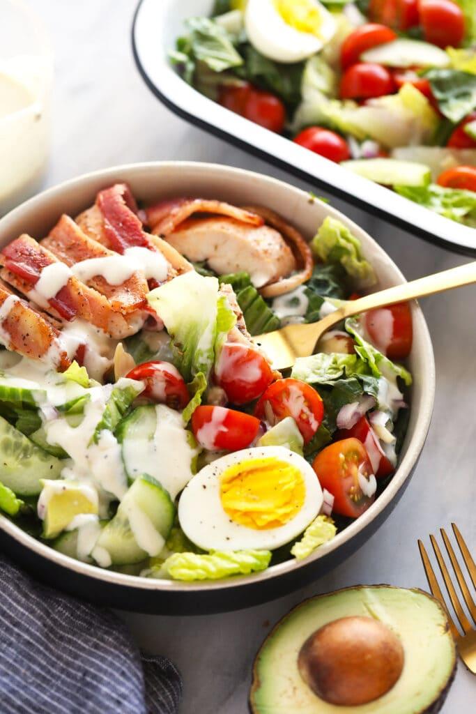 fork in chicken salad