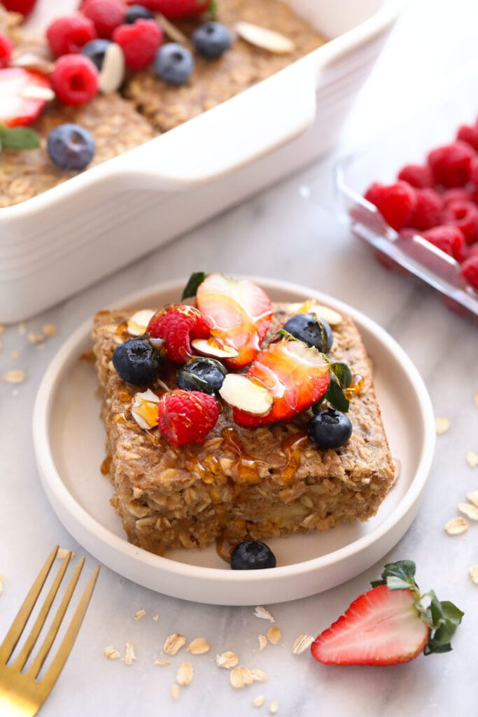 baked oatmeal on plate