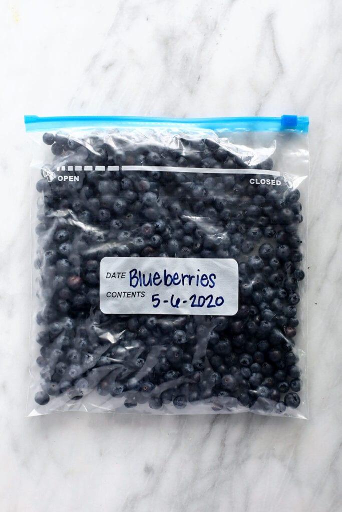frozen blueberries in bag