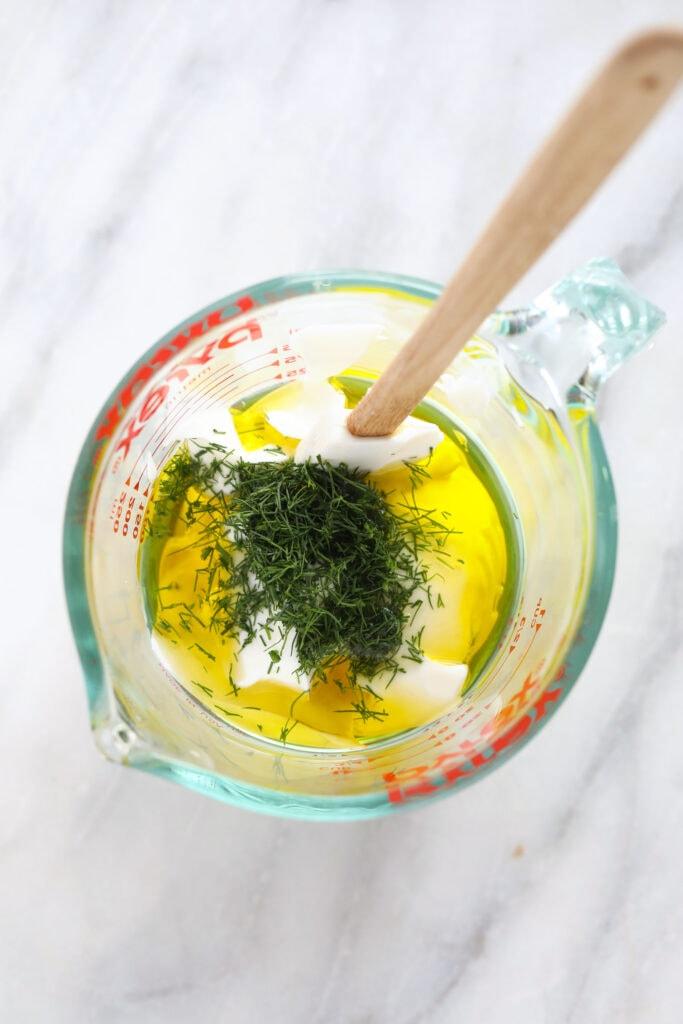Greek yogurt dressing ingredients in Pyrex