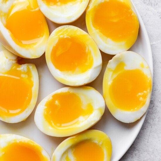 Ramen eggs on a plate