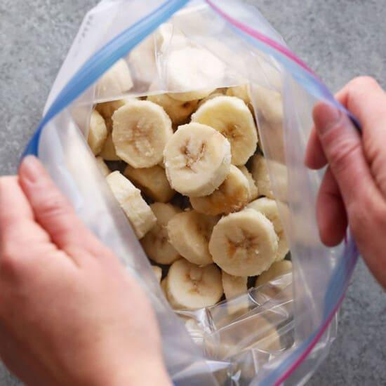 sliced banana in plastic bag