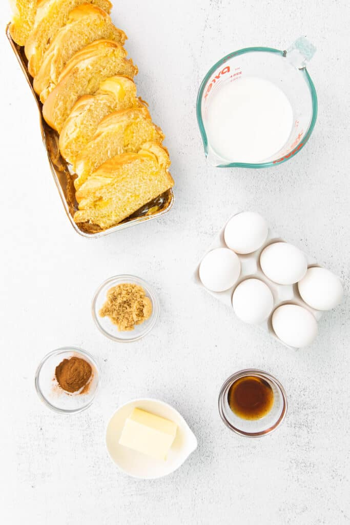 ingredients for french toast laid out on the counter and ready to be prepared