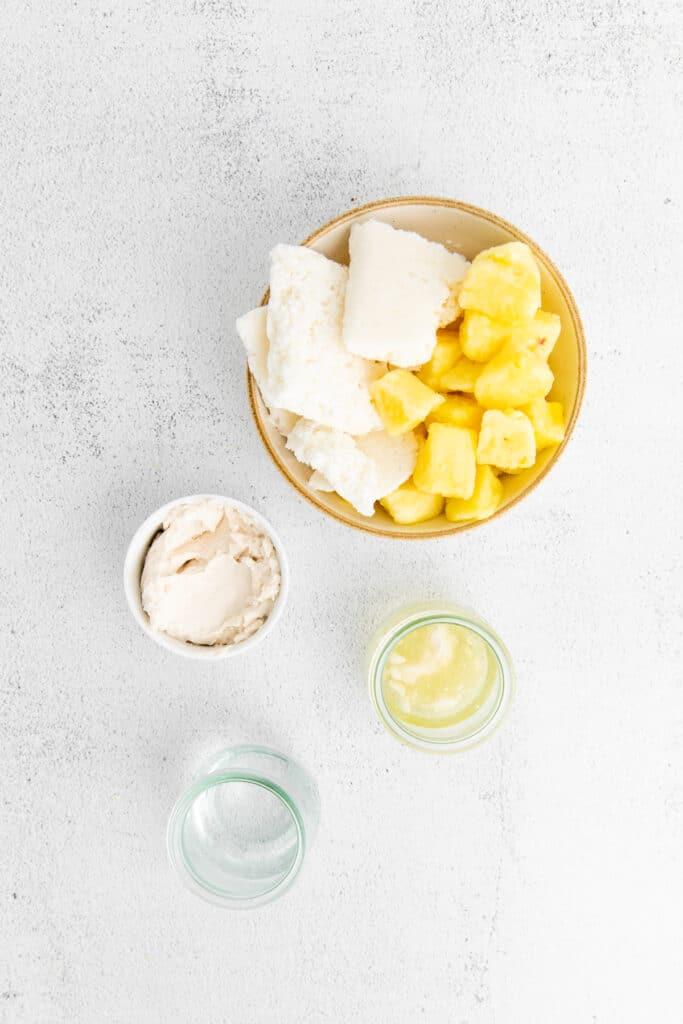 pina colada ingredients on countertop