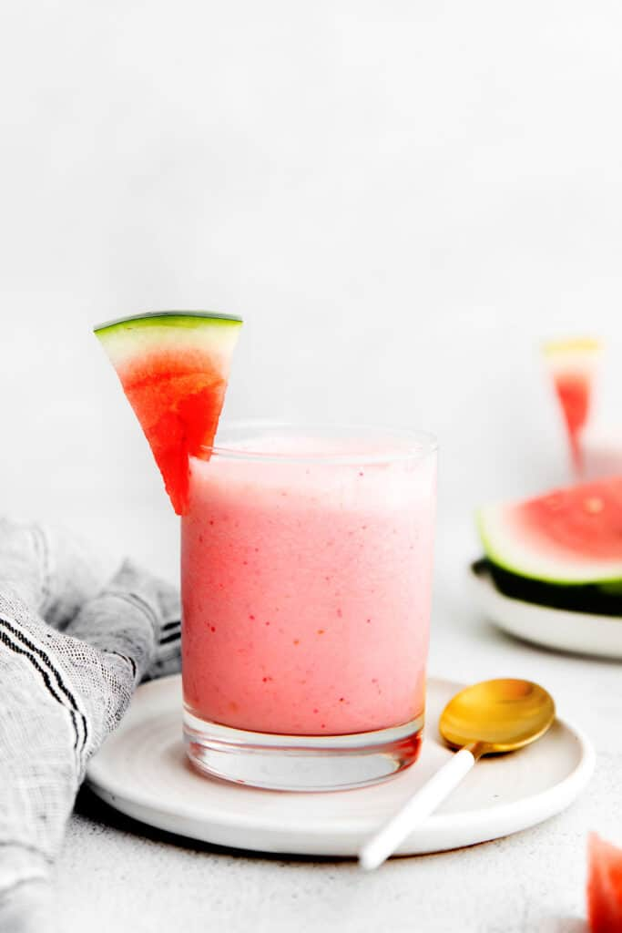 A watermelon smoothie in a glass.