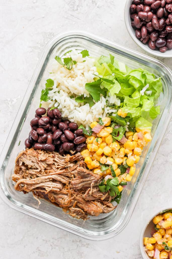 carnitas bowl in glass container