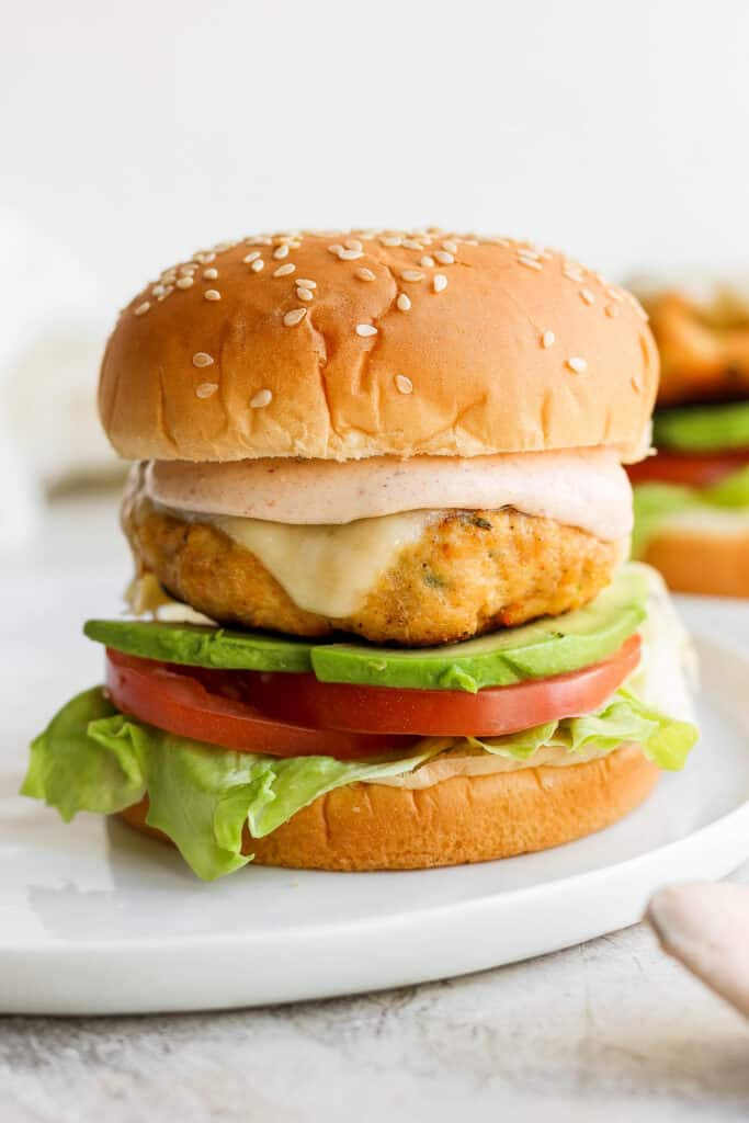 chicken burger and sauce on bun