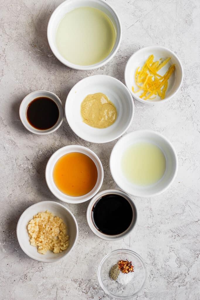 chicken marinade ingredients on counter