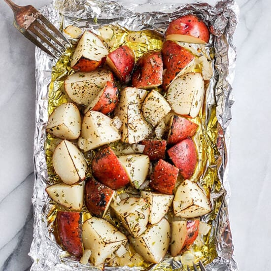 grilled potatoes in foil pack