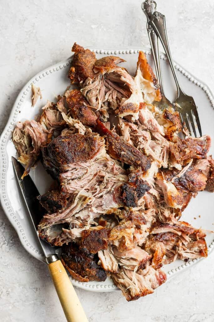shredded pork on platter