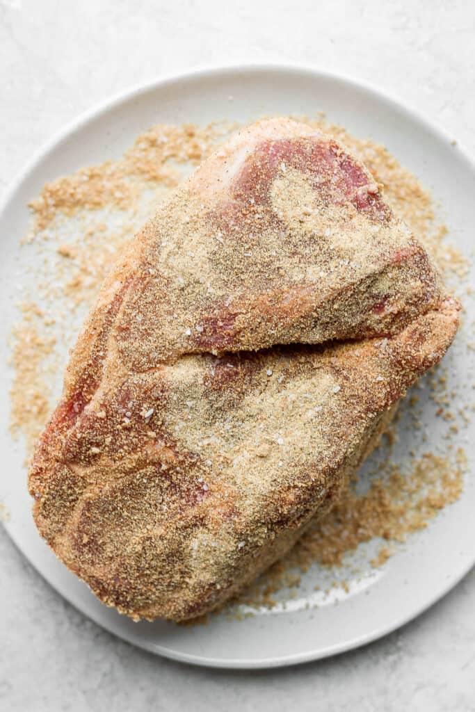 seasoned pork on plate