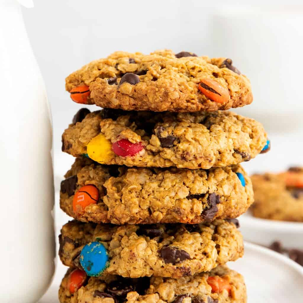 stack of monster cookies