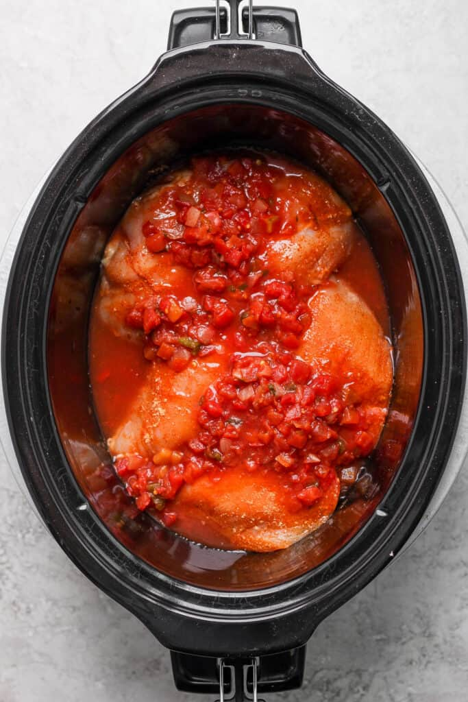 chicken breast covered in salsa in slow cooker